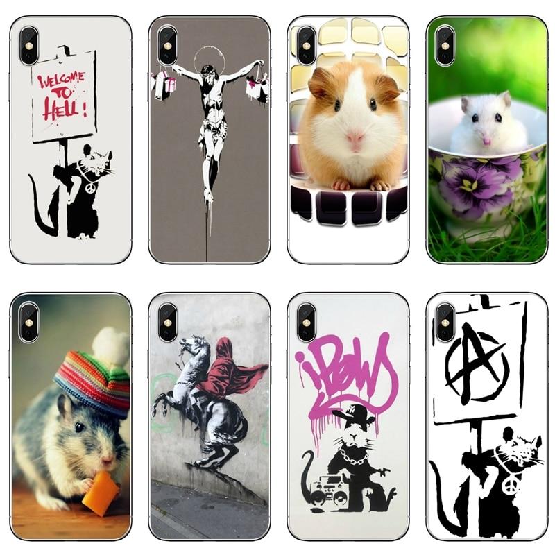 Para Xiaomi Redmi Note 6 5 5A 4 3 pro S2 5 plus 6A 4A 4x teléfono móvil F1 caso de la cubierta graffiti rata usando gafas Ist Banksy