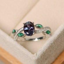 Nouvel anneau de pierre de naissance S925 en argent Sterling européen et américain coloré trésor ovale incrusté cristal violet profond dames anneau