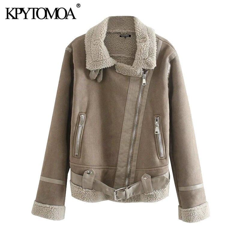KPYTOMOA موضة شتاء 2021 للنساء سميك دافئ من الفرو الصناعي معطف عتيق بجيوب وأكمام طويلة ملابس خارجية نسائية أنيقة