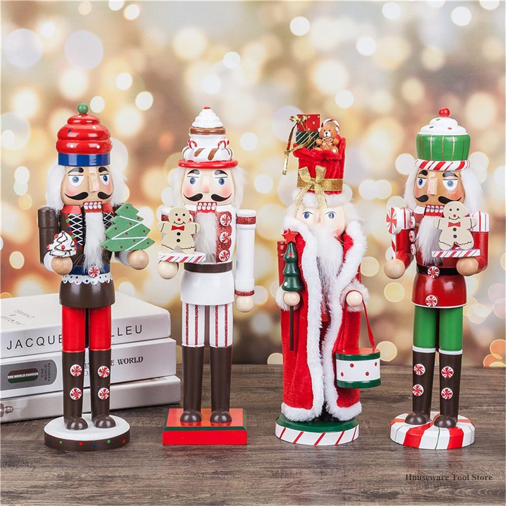 35CM de madera Cascanueces para Navidad marioneta de madera Artesanías hechas a mano casa tienda escritorio adorno decoración para boda cumpleaños 8 tipo