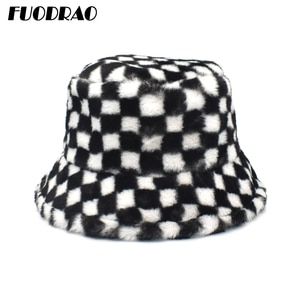 FUODRAO 2020 New Winter Bucket Hats High Quality Brand Plaid Basin Hat Outdoor Warm Faux Fur Fisherman Hat M158