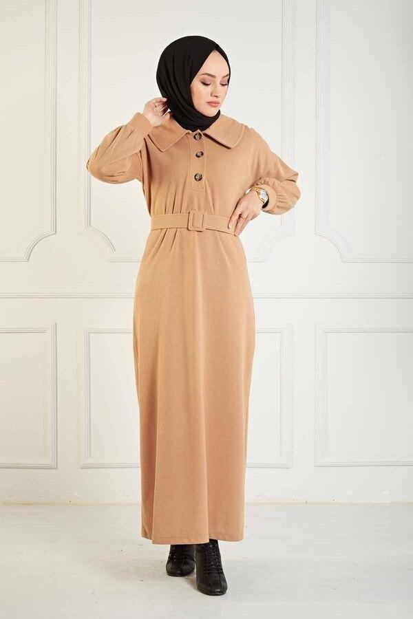 TUGBA Collar Button Detail Dress Muslim women dresses for women Muslim long dress Muslim women turkey