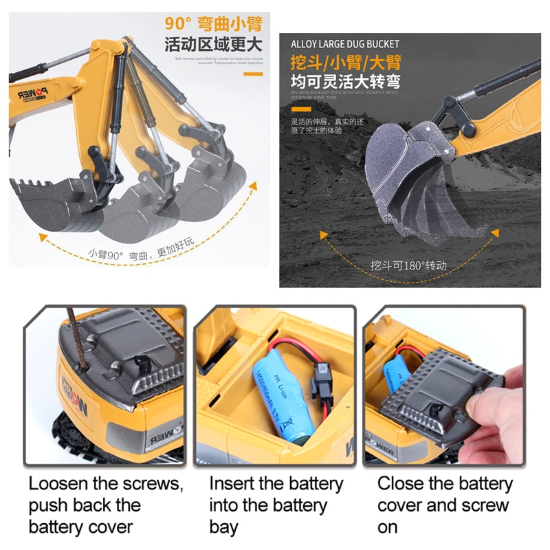 RC Excavator Toy 2.4Ghz 6 Channel 1:24 RC Engineering Car Alloy And Plastic Excavator 6CH And 5CH RTR For Kids Christmas Gift enlarge