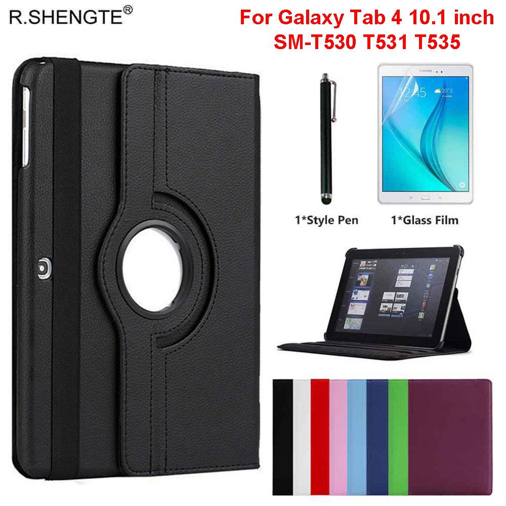 360 caso rotativo para samsung galaxy tab 4 10.1 tablet SM-T530 t531 t535 10.1 case case caso filp capa de couro com caneta + filme