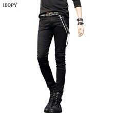 Idopy vente chaude hommes coréen Designer Jeans Slim Fit Street Punk Cool Super Skinny pantalon avec chaîne et ceinture en cuir pour homme