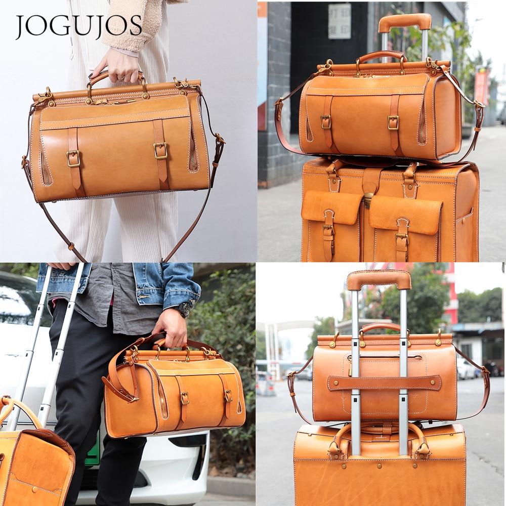 JOGUJOS Vintage 100% Genuine Leather Unisex Travel Duffle Bag Women New Cowhide Large Capacity Luggage Men Messenger New Handbag
