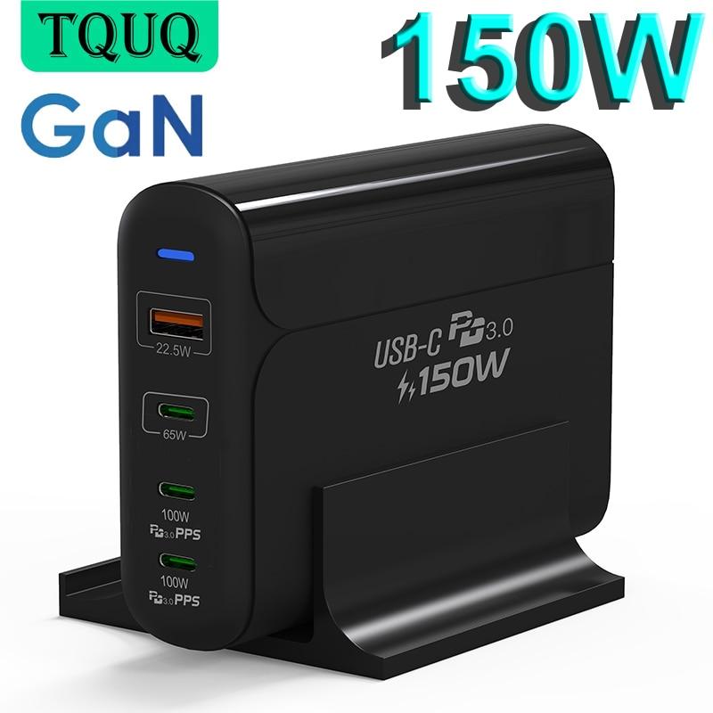 TQUQ 150 واط غان USB-C محول الطاقة ، USB C PD100W PPS 45 واط شاحن لأجهزة الكمبيوتر المحمول ماك بوك آيفون سامسونج ، USB A QC3.0 لهواوي شاومي
