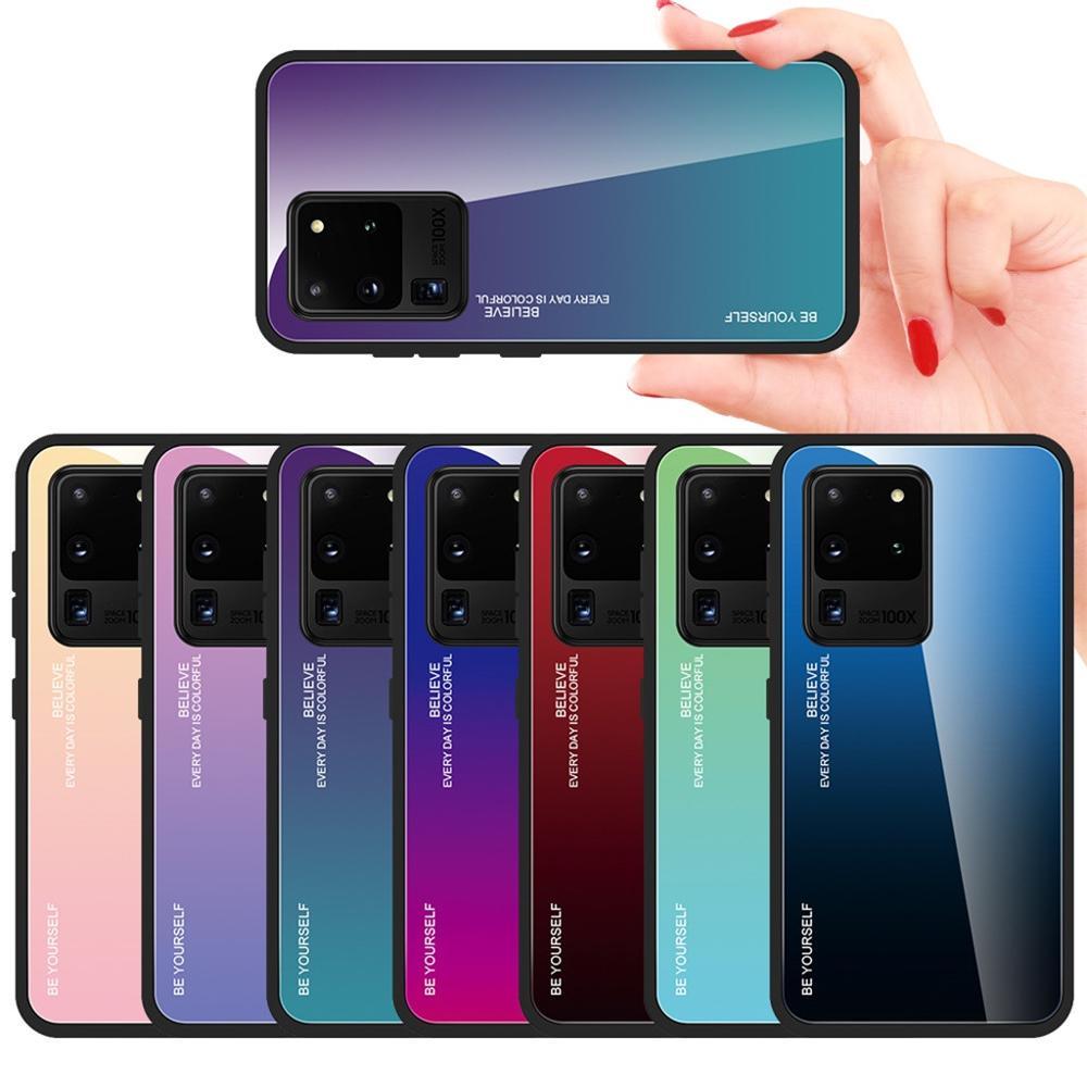 Protector de la cubierta del teléfono del lado del TPU de la parte posterior del cristal colorido para los accesorios del teléfono celular de la cubierta del Samsung Galaxy S20 Ultra 4,3