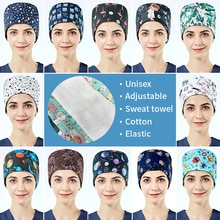 Wholesale prices High Quality Cotton breathable scrubs caps women printing tooth Beauty scrub hat He
