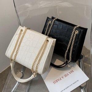 2020 Fashion Women Shoulder Bag Sacoche Femme Crocodile Pattern PU Leather Satchel Ladies Handbag Crossbody Chain Bag
