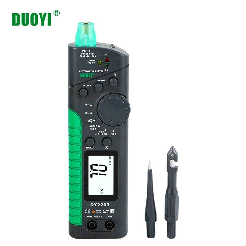 DUOYI DY2203 probador Digital multifunción automotriz, probador de circuito de coche, medidor de envejecimiento de nivel lógico, buscador de interruptor de prueba de continuidad