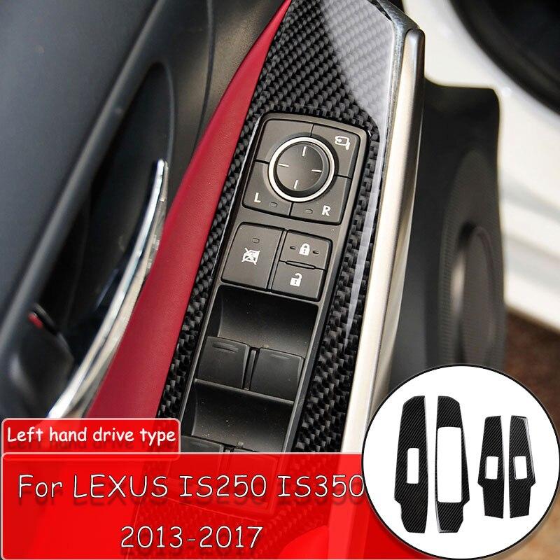 Juego de 4 Uds. De pegatinas decorativas para ventana, de fibra de carbono para cubierta de Panel de interruptores, para LEXUS IS250 IS350 2013-2018, pegatinas para Botón de prevención de desgaste