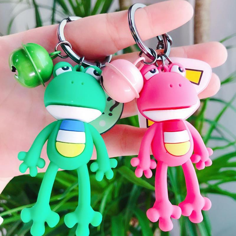 1pc Creative Cartoon Animal frog small bell keychain Action Figure Dolls cute keychain bag Pendant figure toys gift