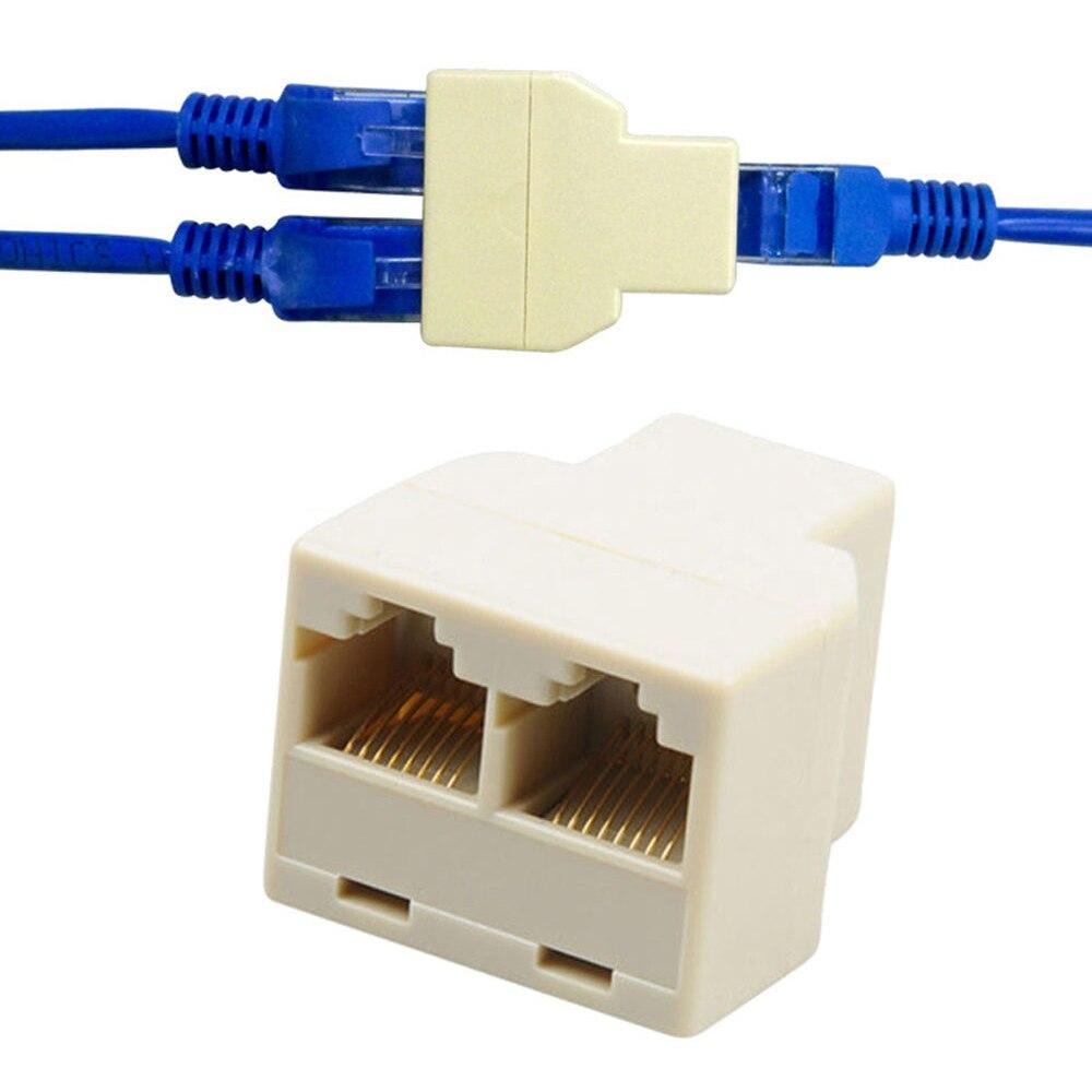 2 pçs/lote 1 a 2 maneiras lan ethernet cabo de rede rj45 fêmea divisor conector adaptador venda quente