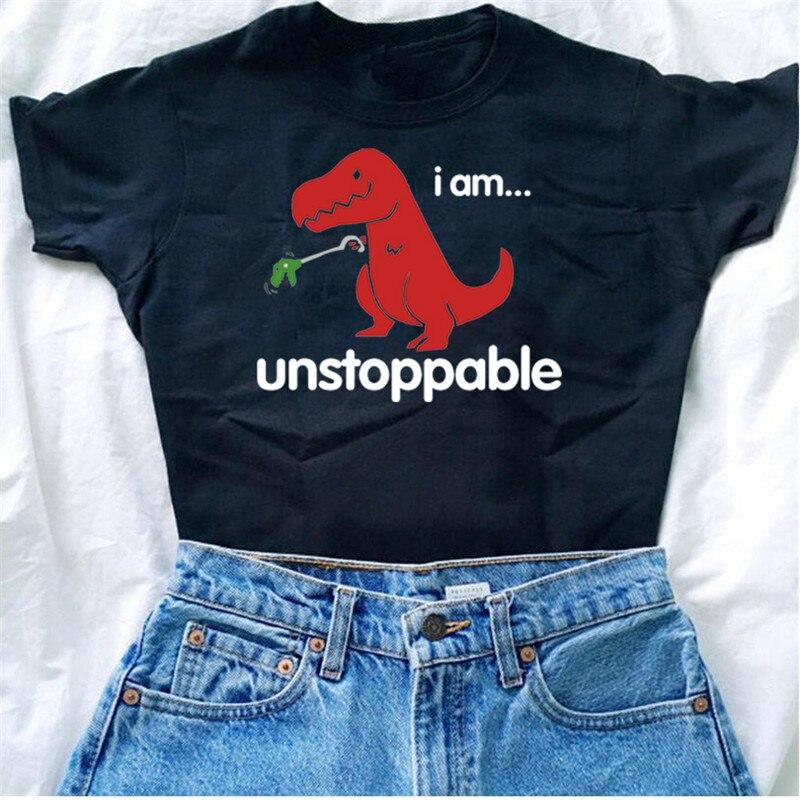 Camiseta Casual de verano para mujer, divertida camiseta de dinosaurio, divertidas camisetas para mujer, camiseta de dinosaurio de juguete