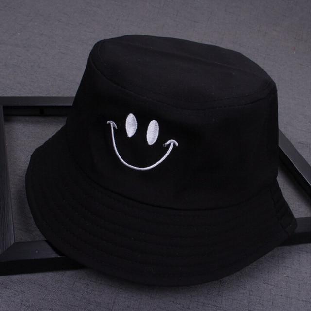 1PC Women Smile Bucket Hat Double Sided Bucket Hat Smiling Face Unisex Fashion Bob Cap Hip Hop Gorro Men Summer Cap 2