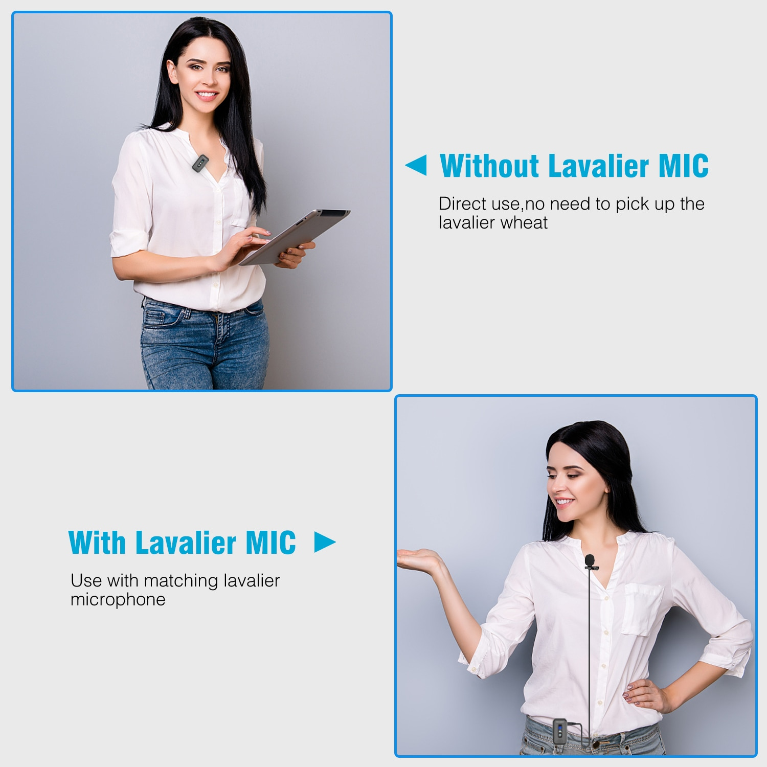 2.4G Wireless Lavalier Microphone with Built-in Mic for Recording Vlog Facebook Youtube Interview Video DSLR Camera and iPhone enlarge