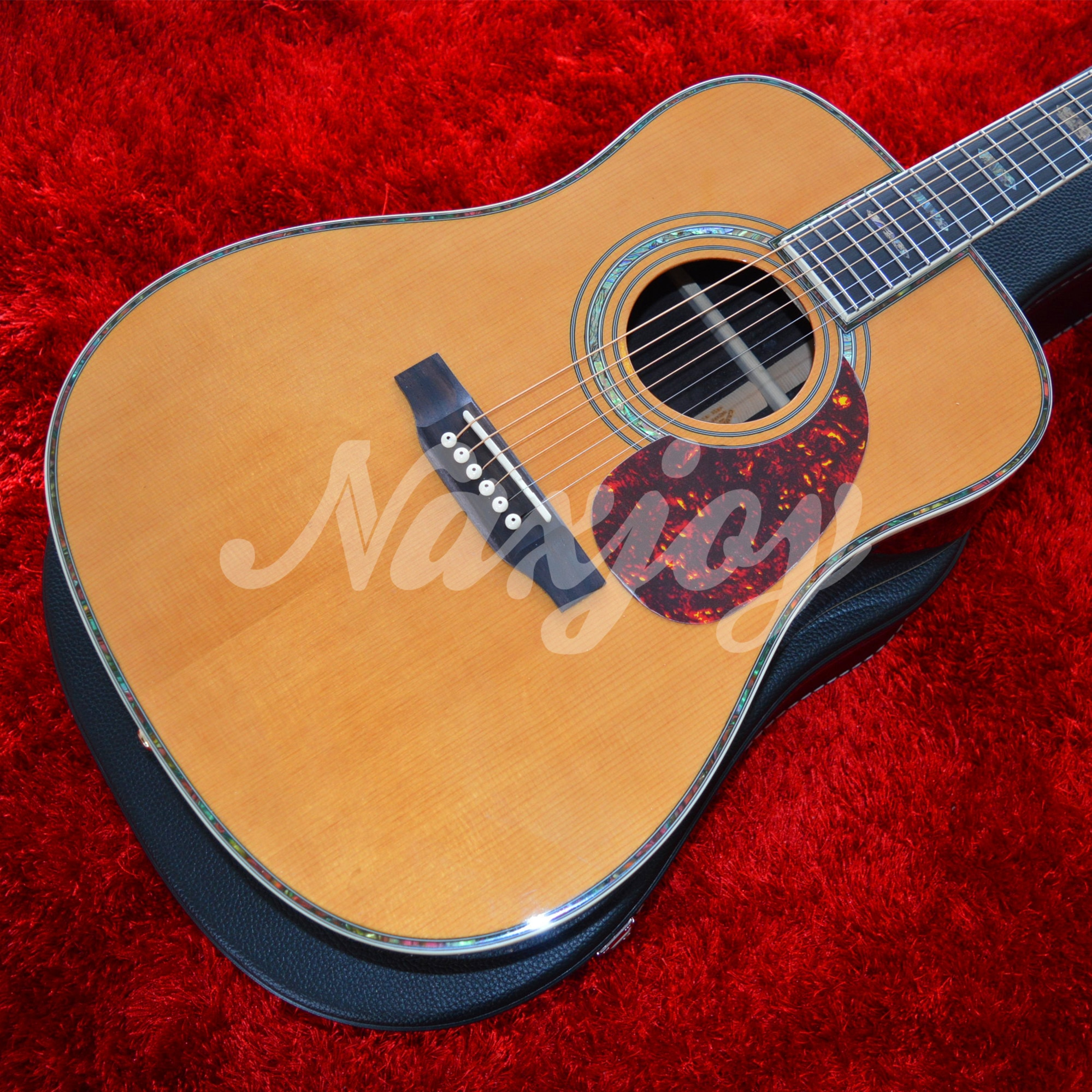 High Quality 41'' 45 D 20 Frets Pearl Inlay Acoustic Guitar With Electric EQ AAA Solid Cedar Top enlarge