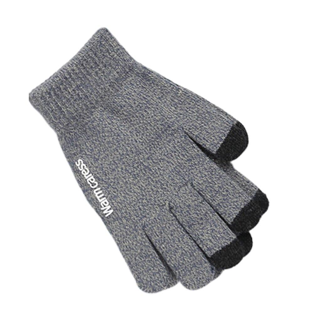 Мода 1 пара зима нескользящий теплый сенсорный экран полный палец вязаный унисекс перчатки лучше теплый зима мужские перчатки полный палец M