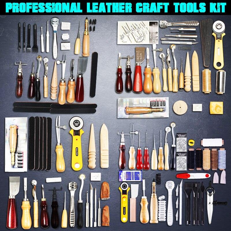Профессиональный набор инструментов для кожевенного ремесла, перфоратор для ручная швейная строчка дома, аксессуары для кожевенного ремес...