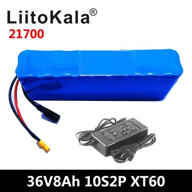 LiitoKala 36V 8AH 21700 4000mah 10S2P batterie de vélo électrique pour scooter de vélo électrique 36V Ebike batterie + 42V 2A chargeur