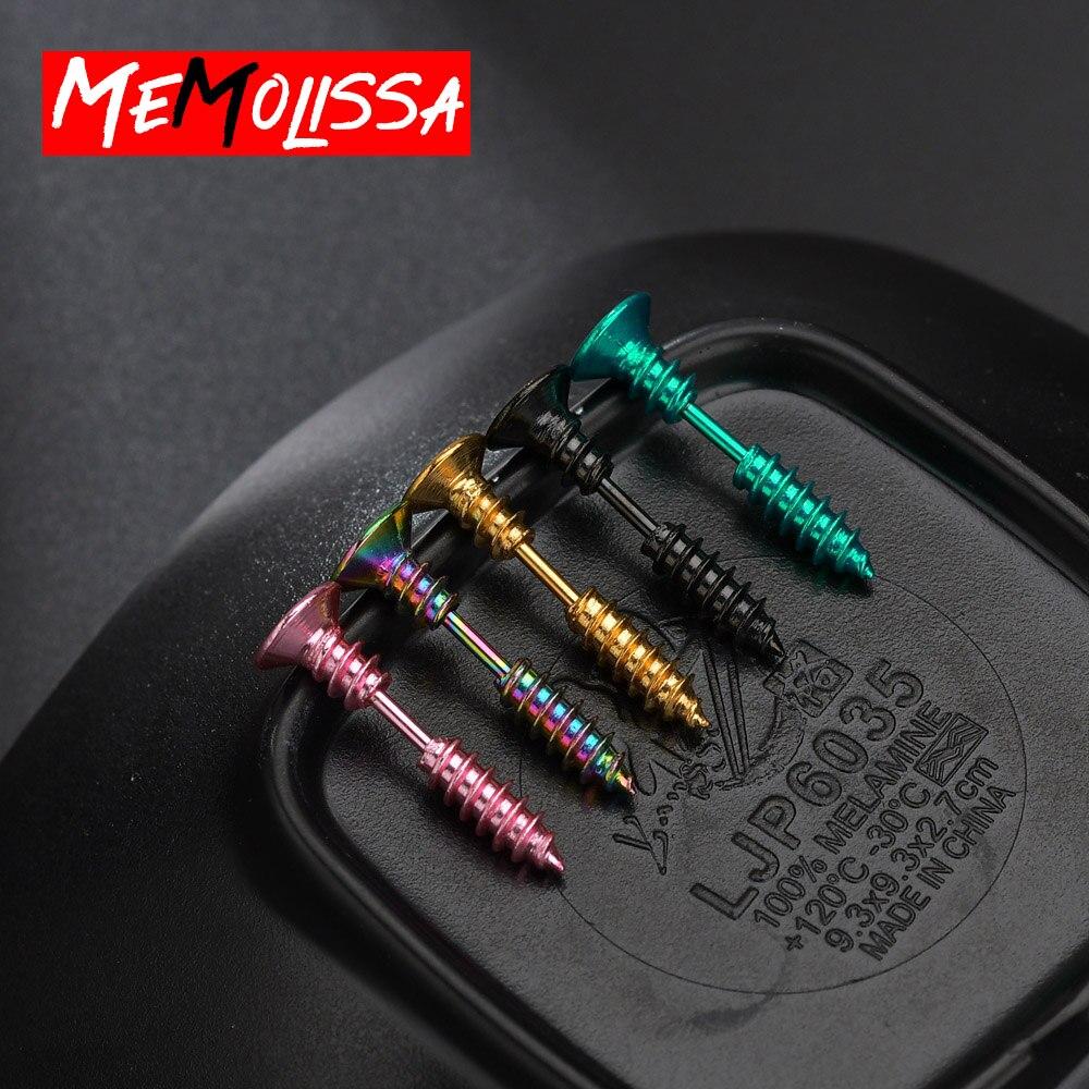 9 Colors Unisex Women/Men Earrings Stainless Steel Piercing Nail Screw Stud Earrings Punk Helix Ear