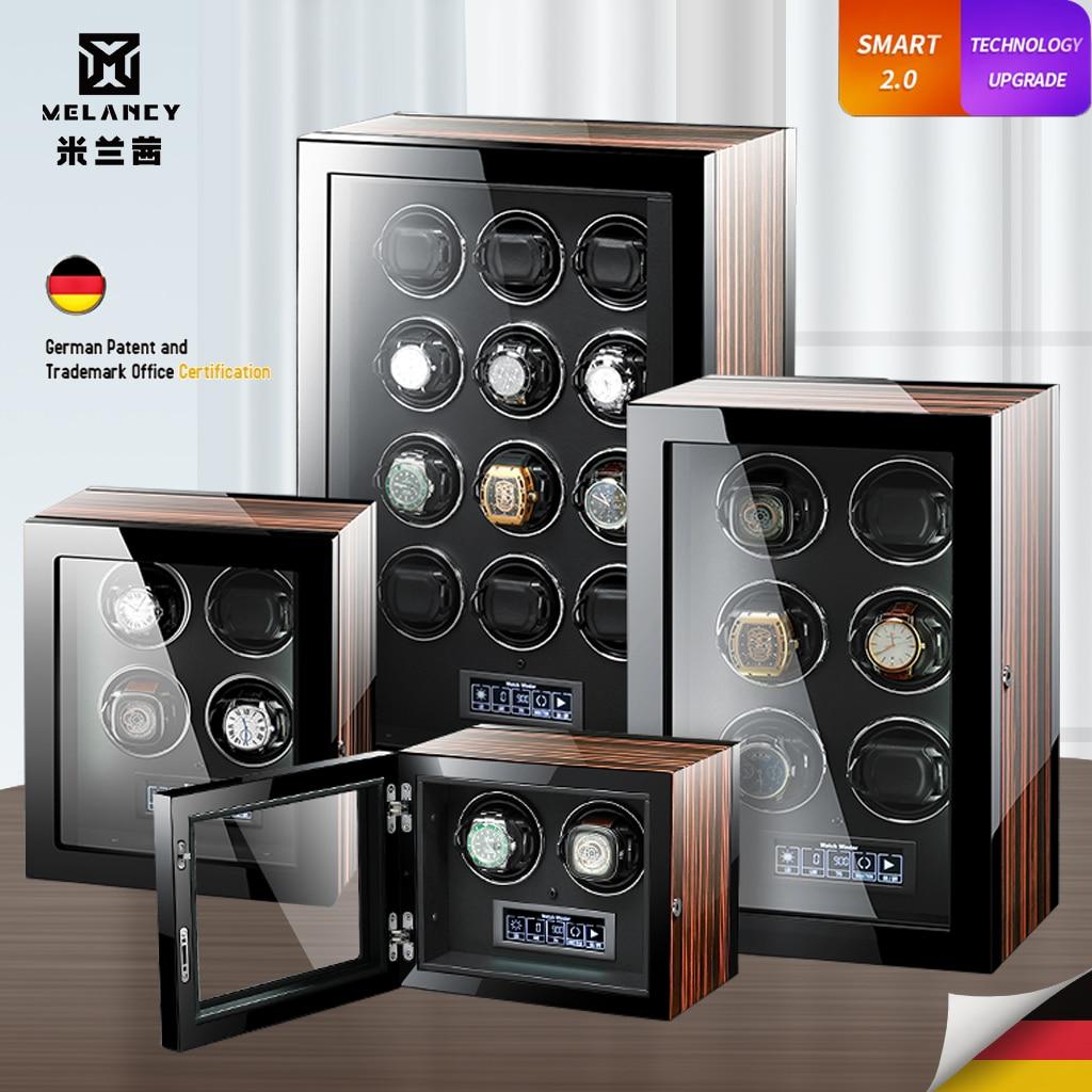 Relógios com Mabuchi Tela de Toque e Controle Luxo Automático Assista Winder 4 6 9 12 24 Motor Lcd Remoto Caixa Armazenamento Relógio 2