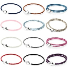Nouvelle mode 925 en argent Sterling multicolore mélangé 12 couleurs femmes Double-Bracelet en cuir ajustement breloque bricolage cadeau Original iconique perle