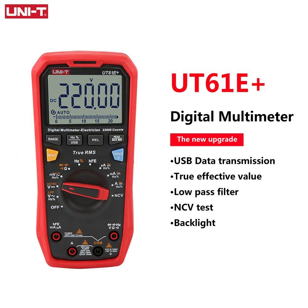 Multímetro Digital Profesional UNI-T UT61E + RMS True, medidor de capacitancia de resistencia de corriente de voltaje CA/CC, UT61B + UT61D