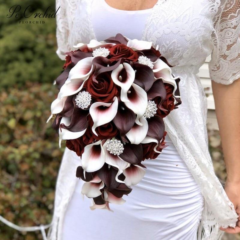 PEORCHID بورجوندي بروش تتالي باقة الزفاف سحر الفاخرة العروس الزهور الورود زنبق الكالا كريستال شلال باقة الزفاف
