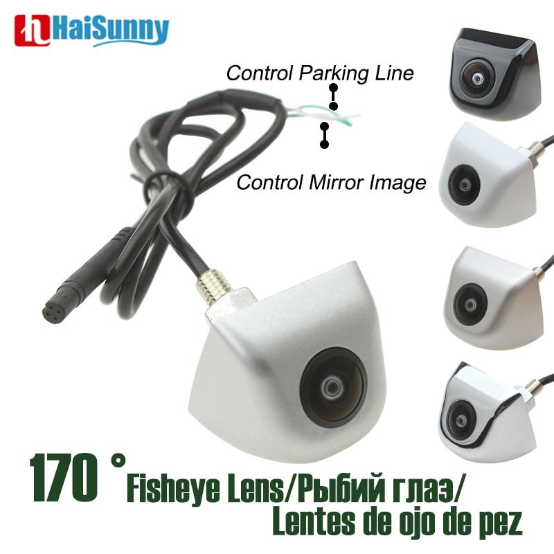 HD CCD Starlight visión nocturna Lente ojo de pez 170 grados Sony CCTV Color blanco plateado coche de respaldo de la cámara de visión trasera sin línea de estacionamiento