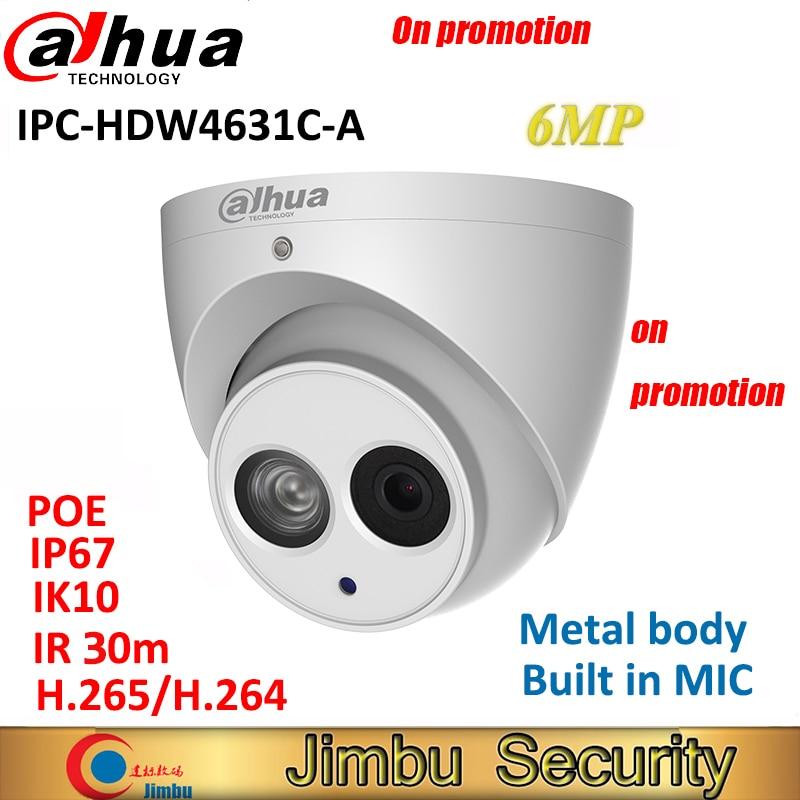Dahua 6MP IP Camera IPC-HDW4631C-A H.265 full metal body Built-in MIC IR30m IP67 IK10 CCTV Dome security Camera Multi-language