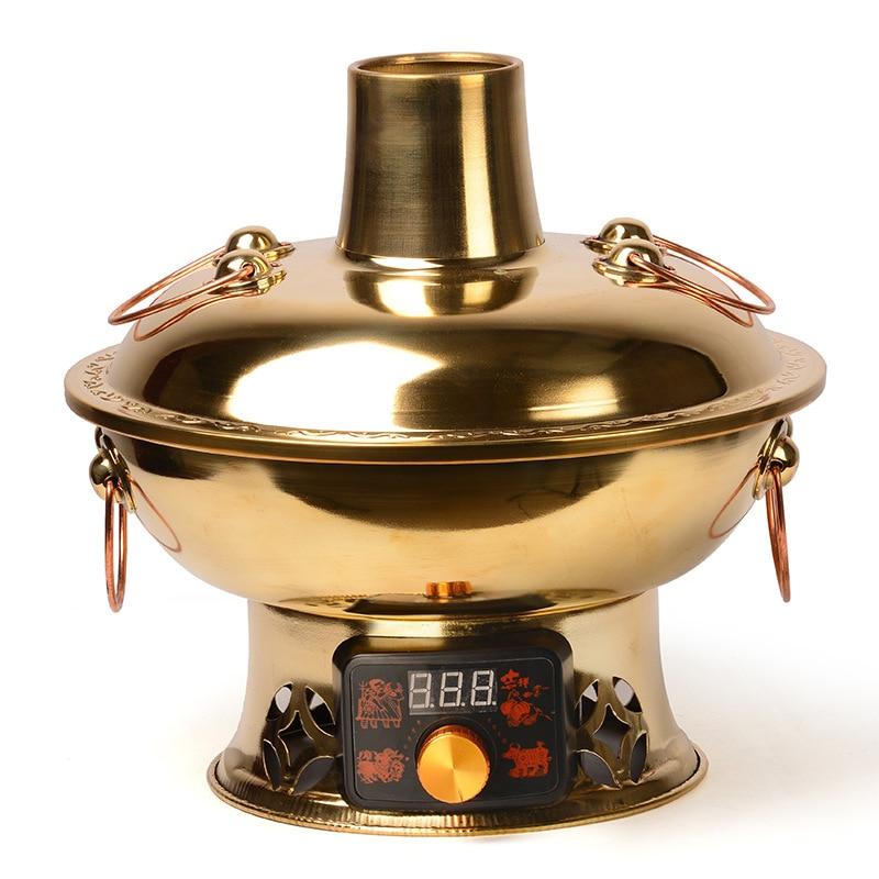 Olla de cobre caliente roja clásica china de carbono eléctrico de doble uso Botón de pantalla táctil espesamiento de cobre puro resistente y duradero