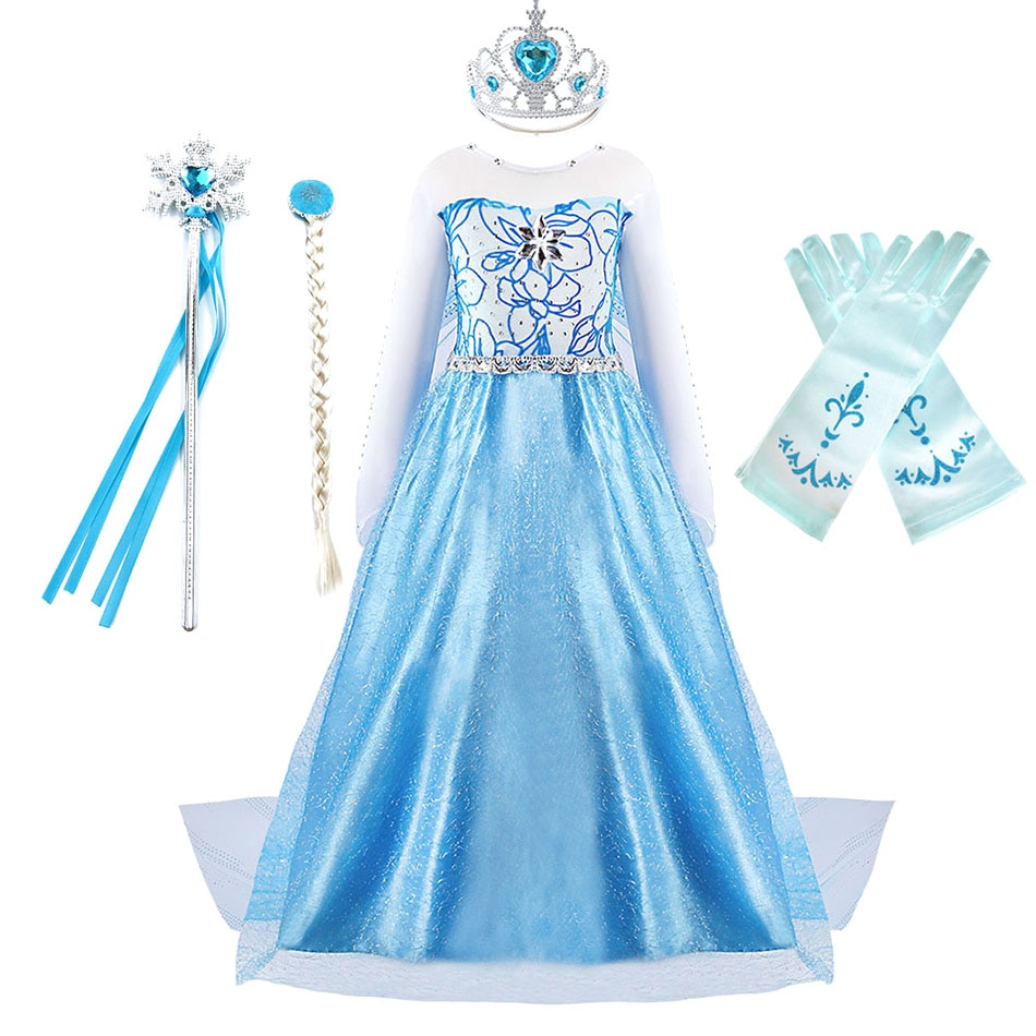 Girls Carnival Princess Dress Snow Queen Elsa Costume Children Fancy Frozen Dress Girl Party Long Gown Birthday Gift for Kids