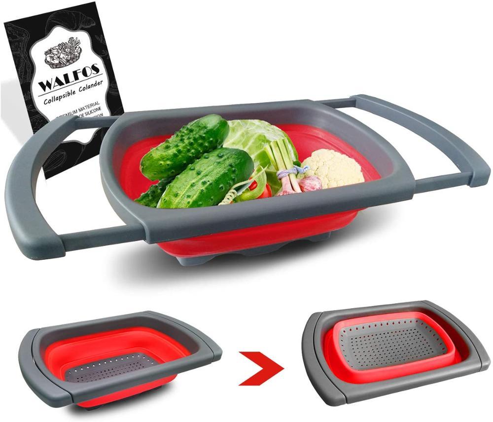WALFOS-مصفاة سيليكون قابلة للطي للفواكه والخضروات ، سلة غسيل ، سلة طبخ ، أداة