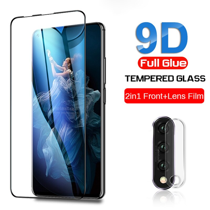 Protector de vidrio honor 20 pro para huawei honor 20s view 20 lite 20i i20 20 view20 v20 película protectora de pantalla de lente de cámara 9d
