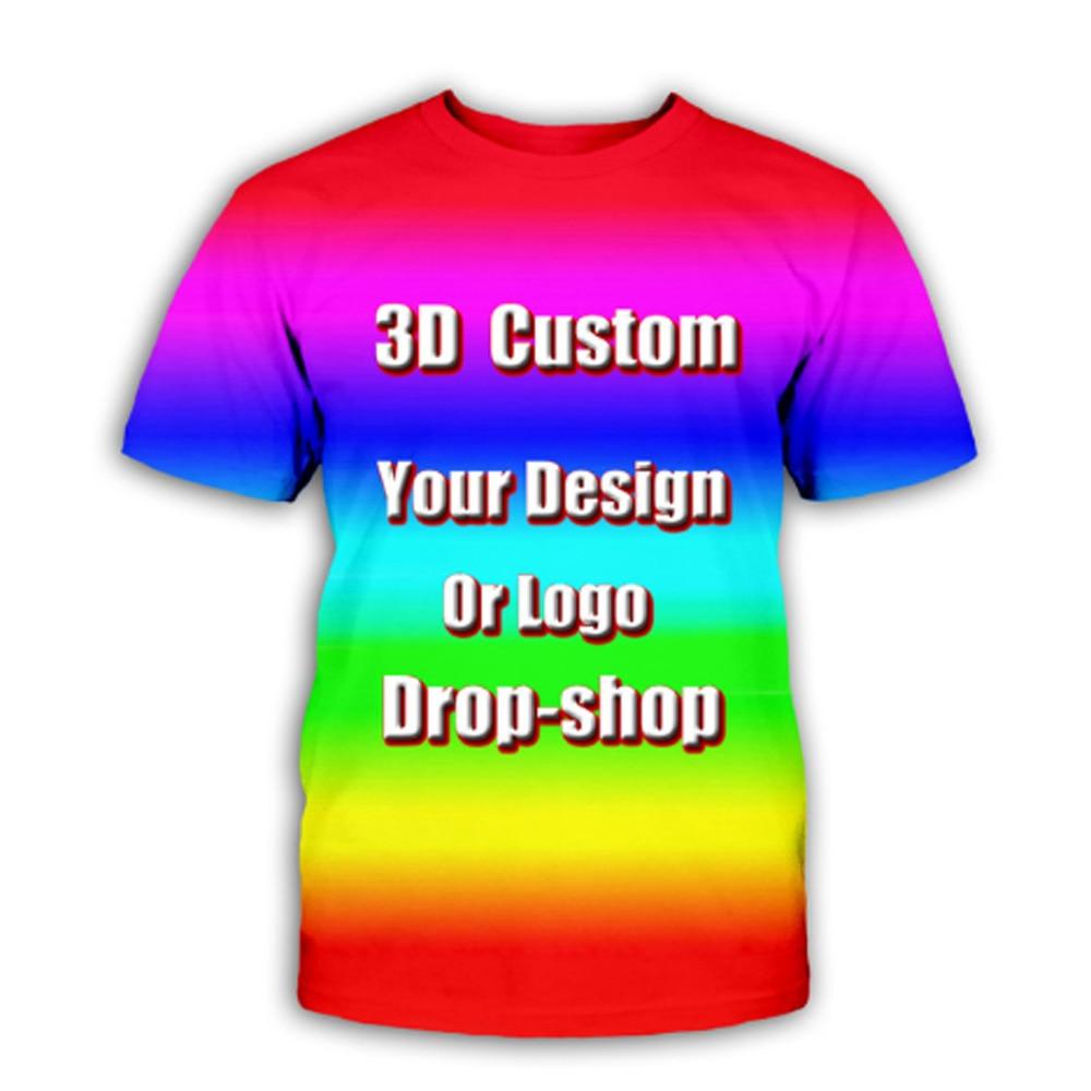 t shirt diy Private order Kid's top T-shirt 3D designer DIY Printed T-Shirt Women Girl DIY Photo Logo Brand T-shirt Boy Clothes Men T-shirt
