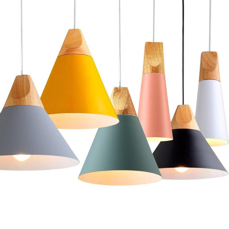 Nordic LED Anhänger Lichter Esszimmer Anhänger Lampe Moderne Bunte Restaurant Küche Kaffee Schlafzimmer Loft Hanglamp Holz E27 220V