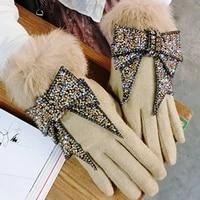 luxury brand gloves winter women gloves cashmere gloves women bling rhinestone bow warm wool gloves women driving gloves