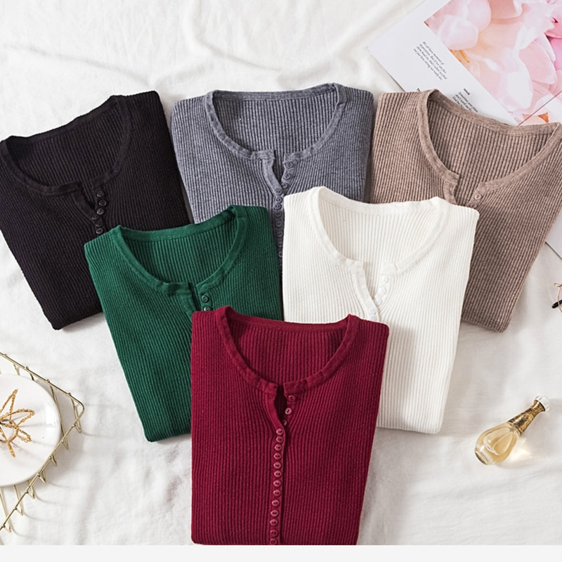 aliexpress - AOSSVIAO 2021 Autumn Winter Button V Neck Sweater Women Basic Slim Pullover Women Sweaters And Pullovers Knit Jumper Ladies Tops