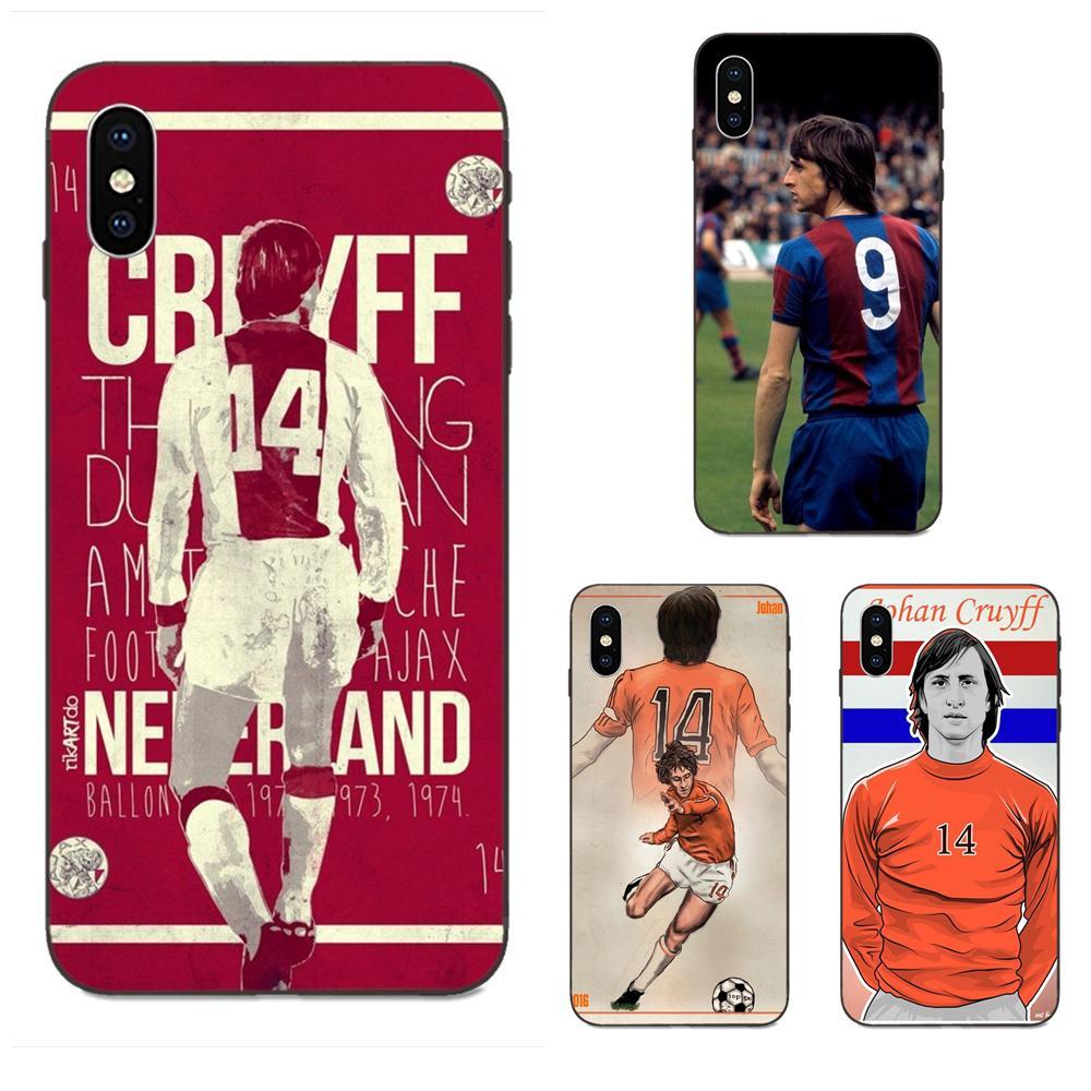 Suaves Capa para iPhone X de Apple XS Max XR 4 4S 5 5S SE 6 6S 7 8 Plus futbolista holandés Johan Cruyff