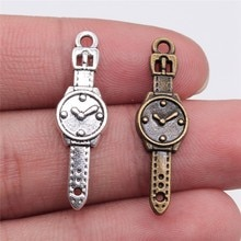 30pcs 30x9mm Pendant Watch Men Men Watch Charm Pendants For Jewelry Making Antique Silver Color Watc