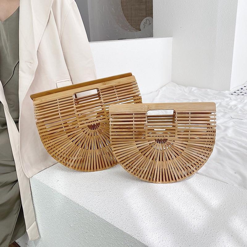Popular Straw Woven Bag Designer Brand Handbags 2021 New Trendy Fashion Portable Saddle Bag Woven Luxury Hand Bag Bamboo Woven