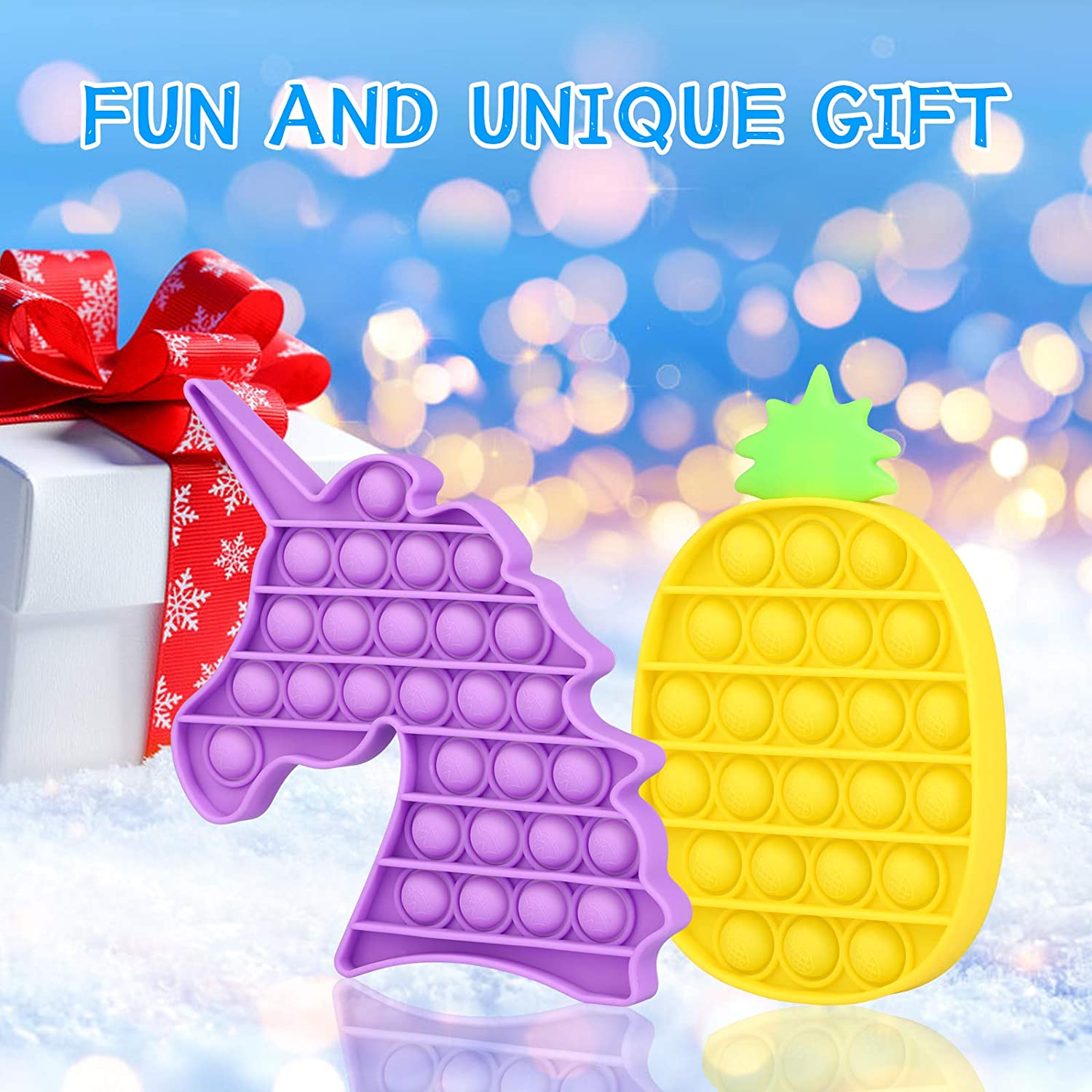 2 Pack Unciorn+Pineapple Pop On It Push Pop Fidget Toys Bubble Sensory Autism Learning Materials for Relief Toddlers Squeeze Toy enlarge