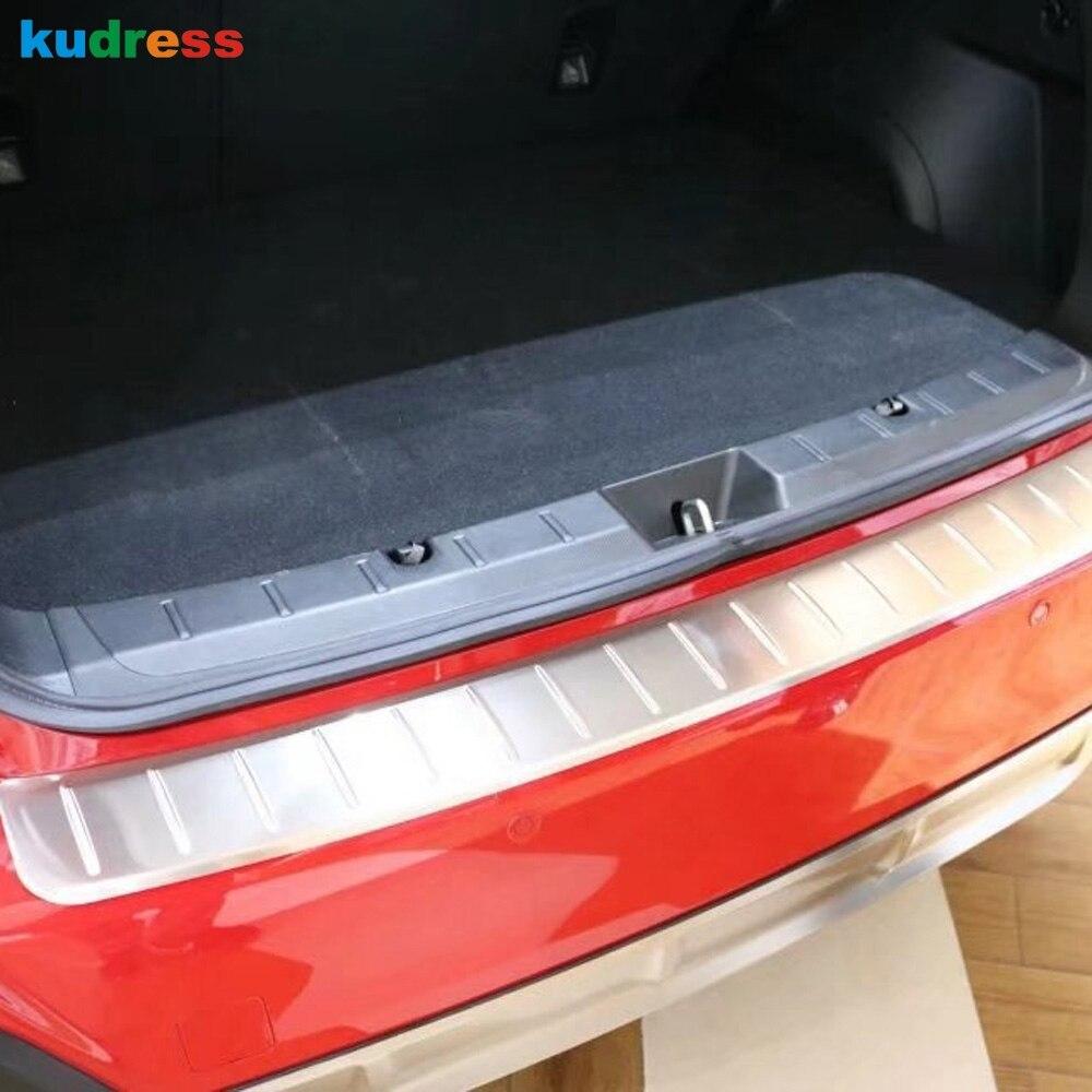 Plaque de protection intérieure et arrière   Pour Subaru XV Crosstrek 2018 2019 style de voiture, plaque de protection intérieure et arrière en acier inoxydable pour le pare-chocs de coffre 2 pièces