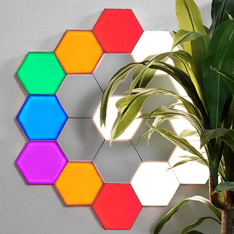 EU US Led Quantum Hexagon Night Lamp RGB Modular Touch Sensitive Panel Lamp Magnetic Assembly Bedroom Bedside Home Wall Lights enlarge