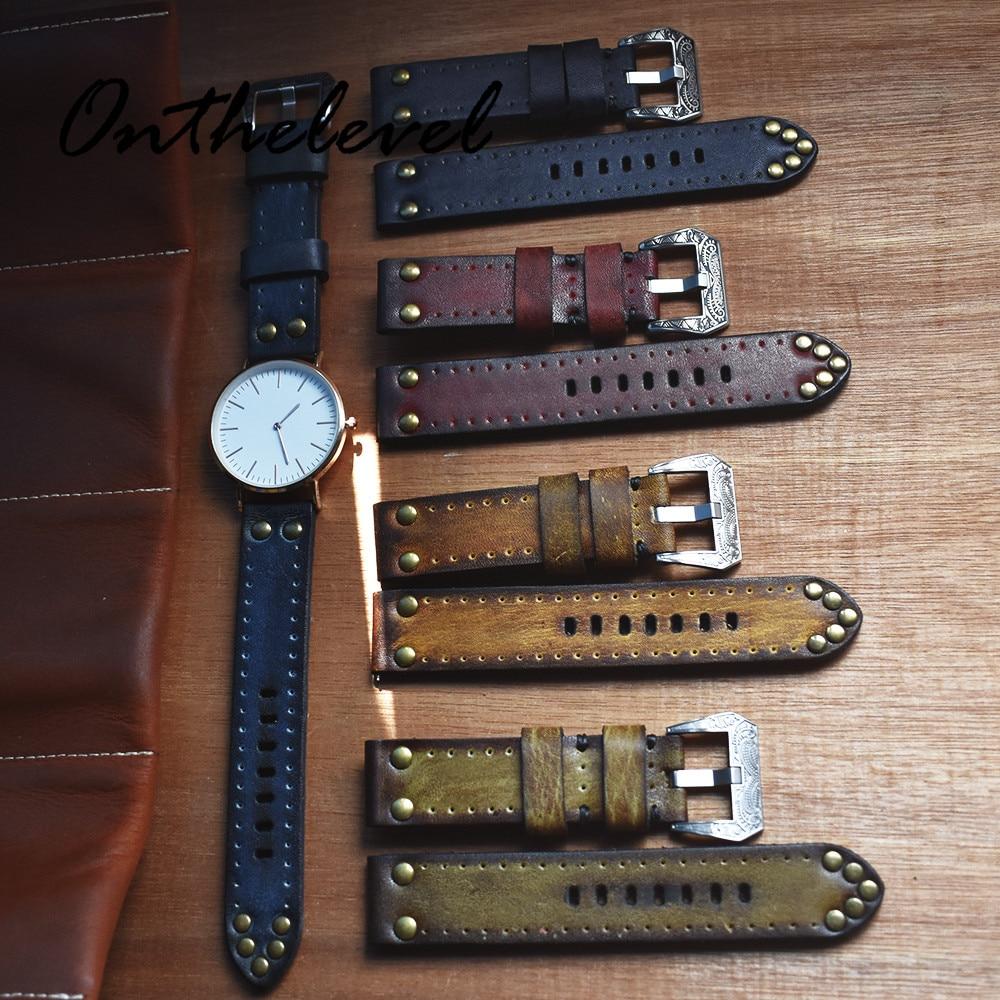 Ремешок из натуральной кожи для наручных часов, винтажный браслет с резьбой, с заклепками, красный/зеленый/черный/желтый, 18 мм 20 мм 22 мм 24 мм
