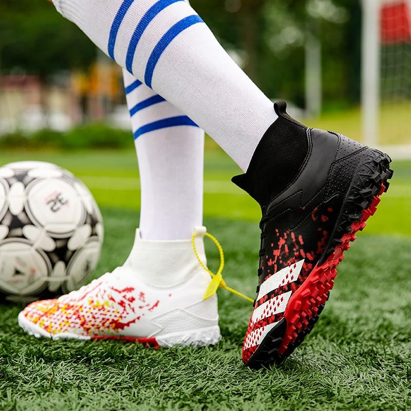 Мужская Профессиональная Обувь для футбола с длинными шипами TF высокие ботинки для футбола Детская уличная обувь для футбола с травой ярлы...