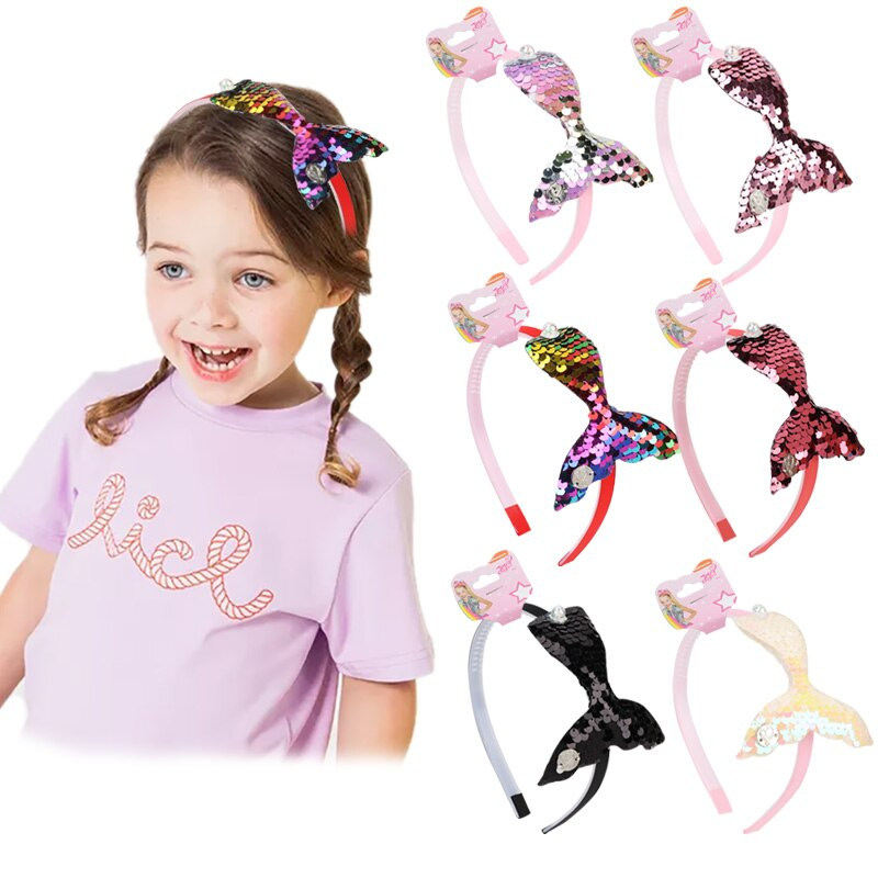 Baby Glitter Fishtail Hair Bands For Girls Kids Valentine's Day Large Sequins Shiny Colorful Fishtail Headband Hair Accessories