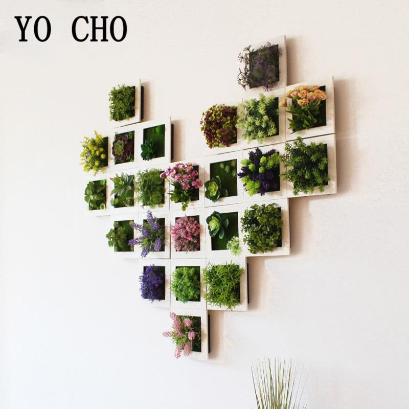YO CHO Искусственные цветы суккулентная рамка для растений 3D Съемная безвредная настенная художественная рамка для гостиной Свадебная вечер...